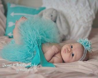 Aqua Baby Tutu, Newborn Tutu & Headband Set, Boutique Baby Tutus, Infant Tutu, Baby Girl Tutu Skirt, Toddler Birthday Tutu, Photo Prop Tutu