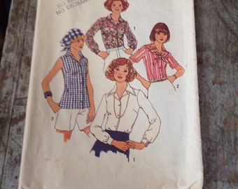 Vintage Simplicity Sewing Pattern 7353 Misses' Size 14 Blouse Scarf