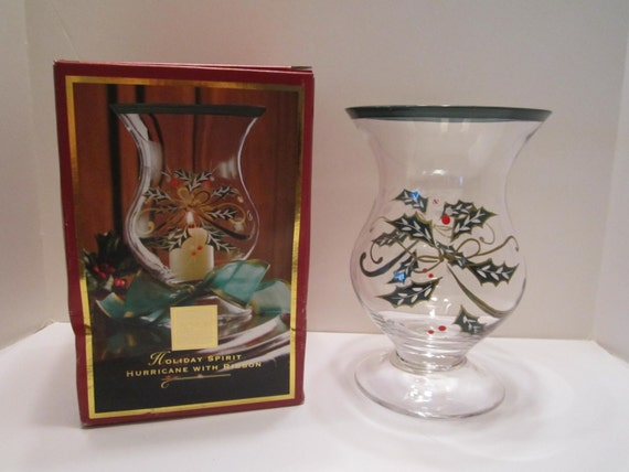 Lenox Crystal Hurricane Candle Holder - Holiday Spirit Hand Painted Crystal Candle Holder - Christmas Holly