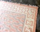 Reserved danika vintage dhurrie rug - 1940s pink/grey woven dhurrie rug 9x6