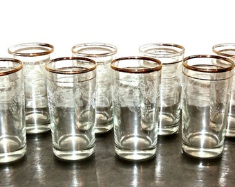 vintage gold rim glasses - 1950s-60s mid century etched grape glasses set of 8