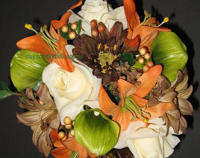 New Mossy Oak New Break Up Wedding Bouquet 13 Piece Set, Camo Wedding Bouquets, Orange Camouflage Bouquets