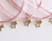 Twinkle Twinkle Little Star Birthday Party Favor, Girl Necklaces, Pink Ribbon Star Theme Party, Kids Jewelry, Gold Glitter Ball with Star