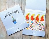 Matchbook Birthday Cards Make a Wish Card Set Cupcakes Candles
