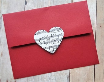 Heart Stickers Music Note Envelope Seals Valentine's Day Sheet Music Weddings Cardstock Hearts