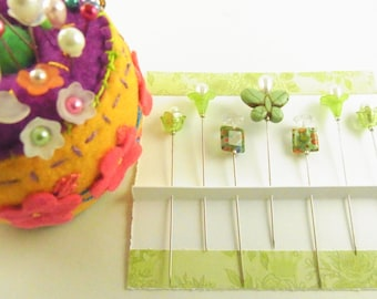 Sewing Pins Green Butterfly, Millefiori and Flowers