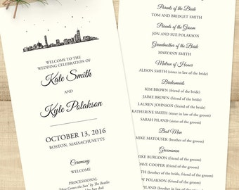 Boston Skyline programs for wedding day; SET OF 25; customizable, white or ivory paper