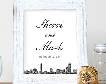 Boston skyline 5x7 or 8x10 inch wall art; Happily Ever After gift for newlyweds, housewarming gifts, city skyline