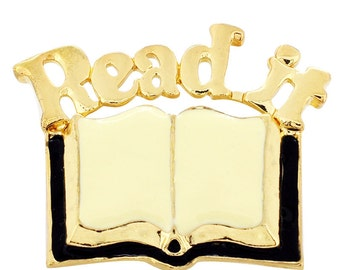 Golden Read Book Brooch Pin 1012171