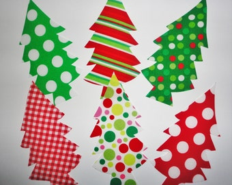6 Iron On Appliques...Patch...Fun and Funky Assorted Reds And Greens CHRISTMAS TREES