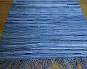 Loom woven rag rug, recycled denim, 5 ft long, Made in USA