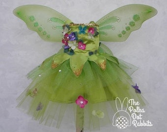 Girls Garden Fairy Princess Pageant Theme Dress or OOC, Full Length Tulle Skirt, Silk Flower Top, Wings, Head Piece, sizes 18 month thru 10