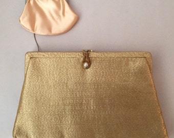 Vintage Gold Clutch, with attached Coin Purse and Pearl Closure