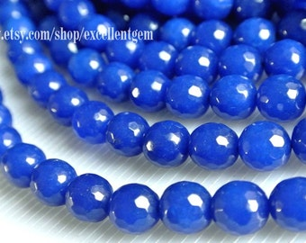 7% off full strand Faceted Round beads, Full strand deep blue color jade, 10mm Round beads, Blue color beads.