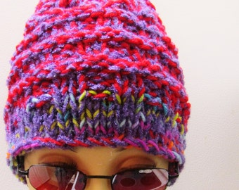 Ribbed Raseberry and Purple Hat