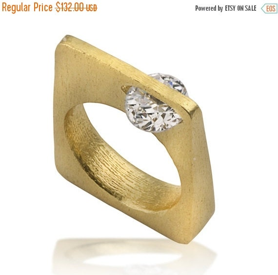 Holidays Sale 20% Square Ring, 14K Gold Ring, Geometric ring, Contemporary Engagement Ring, Statement Ring