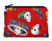 CLEARANCE Day of the Dead Skulls Coin Purse La Catrina Red Small Zipper Pouch