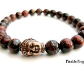 Mens Red Tigers Eye Tibetan Buddha Bracelet, Wrist Mala, Yoga Beads