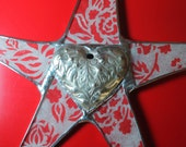 Silver Heart Star- 10+ inches lacquered paper on glass with tooled silver metal heart-  limited edition of 7