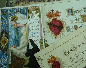 Antique French Sacred Heart Holy Cards, Ex Votos for the Passionate, offered by RusticGypsyCreations