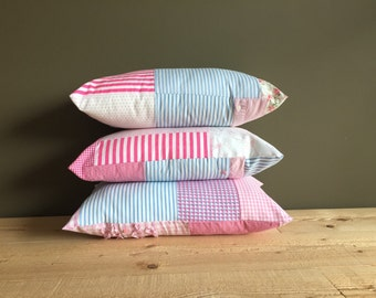 patchwork pastel lumbar pillow cover set - baby blue pink and white lumbar pillow - cushion cover - 12x20 - girly lumbar pillow set nursery