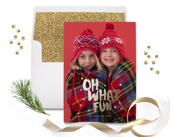 Photo Christmas Card / Holiday Photo Greeting -Glitter -  Photo Christmas Cards PRINTABLE / PRINTED - Xmas Greeting - Oh What Fun!