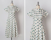 vintage 1940s dress / 50s floral dress / floral cotton dress / Danube Kavics dress