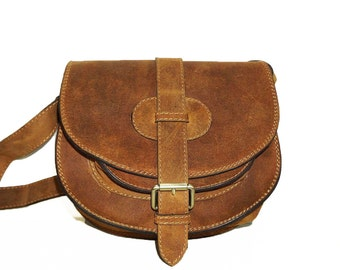Rustic Leather Saddle Bag // Cross body bag // Messenger Goldmann S in vintage tan