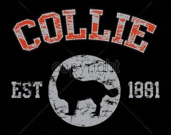 WOMANS T Shirt Collie Dog Puff Art Applique 17404