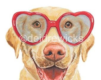 Lab Dog Watercolor PRINT - 5x7 Watercolour, Labrador Retriever, Dog in Glasses, Dog Illustration