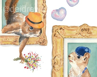Squirrel PRINT Watercolor - 5x7 Watercolour PRINT, Romance, Squirrel Portrait