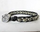 Black Leather Pyrite Wrap Bracelet, Pyrite Beaded Leather Wrap Bracelet, Pyrite Single Wrap Bracelet, Globe Bracelet