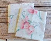 Vintage Pillowcase Set / Pink Floral & Polka Dots / Vintage Pillowcase