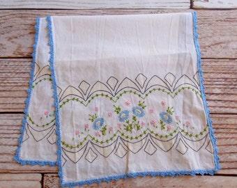 Vintage Embroidered Table Runner / Dresser Scarf / Blue Floral