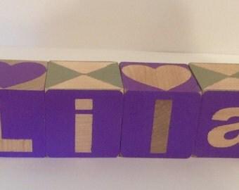 Personalized wood blocks, kids gift, custom kids birthday gift, baby gift, personalized, handpainted name gift
