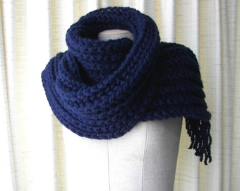 Chunky Thick HAND Knit Rib Scarf in Navy Blue/ Classic Knit Scarf / Boyfriend scarf / Ready to ship Handmde Gift