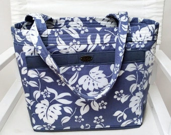 Large tote // blue // white // floral // long straps