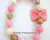 Pink White Gold Little Girl Bubblegum Necklace, Children Necklace, Girl Chunky Necklace, Chunky Bead Necklace,Girl Bubble Gum Necklace
