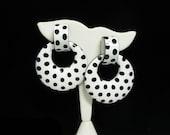 Huge Polka Dot Earrings - Retro Pierced Earrings in Black and White - Hoop Style Door Knockers - 1970's - 1980's MOD Plastic