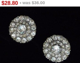 Bogoff Clear Rhinestone Earrings - Clip on Style Round Button Design - Vintage 1960's Era