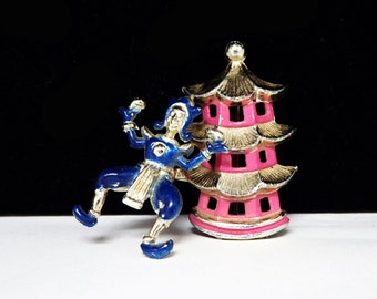 Pagoda & Chinese Man Brooch - Trembler Pin - Pink and Blue Enamel Character Pin - Vintage 1950's - 1960's Figural Jewelry