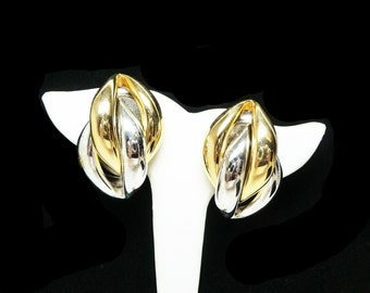 Retro Big Chunky Earrings - Two Tone Clip on - Abstract Interlocking Gold and Silver Tones