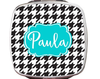 Personalized Compact Mirror, Houndstooth Personalized Monogrammed Compact Mirror, Custom Compact Mirror, Bridal Gift