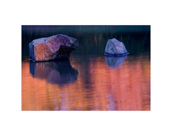 """Fine Art Color Landscape Photography of Rocks in Lake and Reflections - """"Two Rocks and Autumn Reflection in a Japanese Garden"""""""