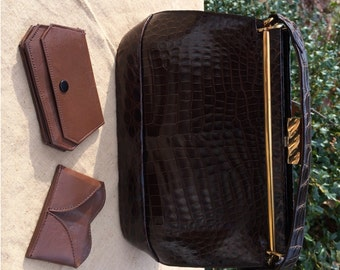 Gator Look Purse Brown Leather Small Kelly Bag Stamped Leather Vintage Leather Gold Tone Trim and Clasp Genuine Leather House of Oppenheim