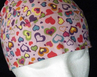 Pink Skull Cap or Chemo Cap w Colored Hearts, Hats, Hair Loss, Bald, Do Rag, Motorcycle, Helmet Liner, Surgical Cap, Bandanna, Handmade