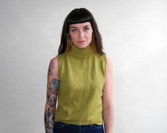 vintage sleeveless olive wool turtleneck / size small