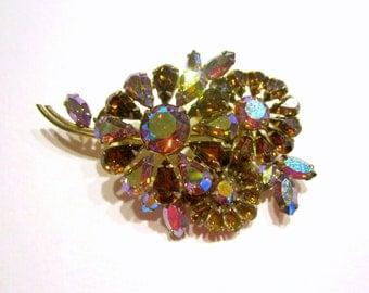 "Rhinestone Brooch Aurora Borealis Pin 2 3/4"" Big Vintage Pin"