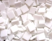 """100 1/2"""" Tumbled White Opal Stained Glass Mosaic Tiles"""