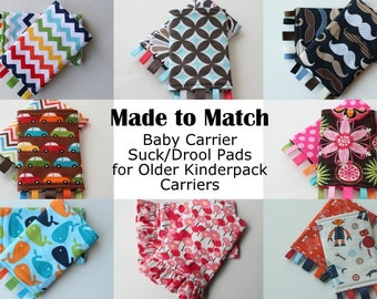 Baby Carrier Suck/Drool Pads - For Older Kinderpacks (Whales, Retro Surf, Cabana, Aqua Tile, & More) - Choose Straight, Curved, and Ruffles